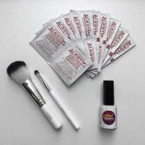 Glittertattoo kit met penselen en huidlijm
