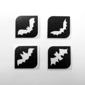 4 Mini glittertattoos Vleermuizen